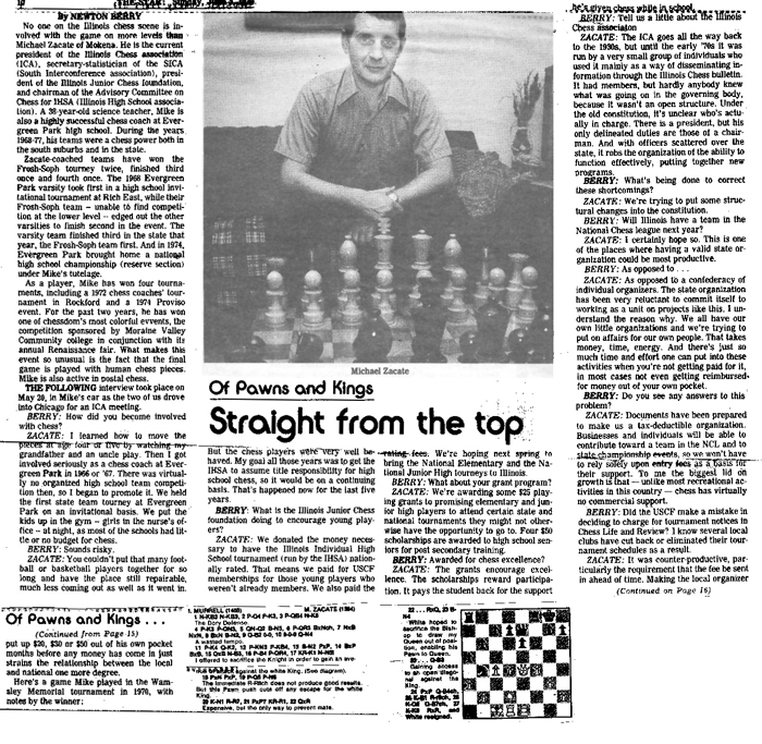 An article about Zacate and high school chess published in a local paper in 1979.