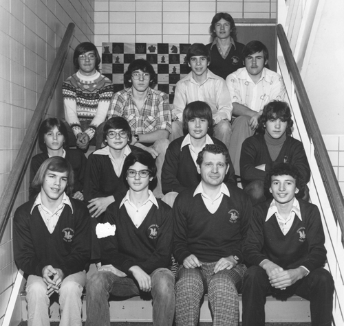 Mike Zacate with Evergreen Park HS Chess Team circa 1975